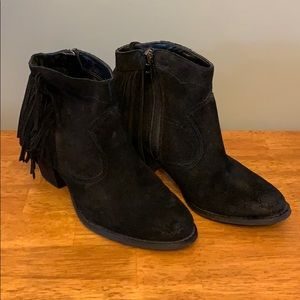 Marc Fisher Fringe Black Booties Women's 6.5